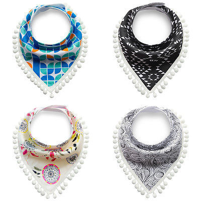 Emmababy Kids Baby Feeding Head Scarf Towel Bib Tassel Boys Girls Bandana Saliva Triangle Dribble Bib