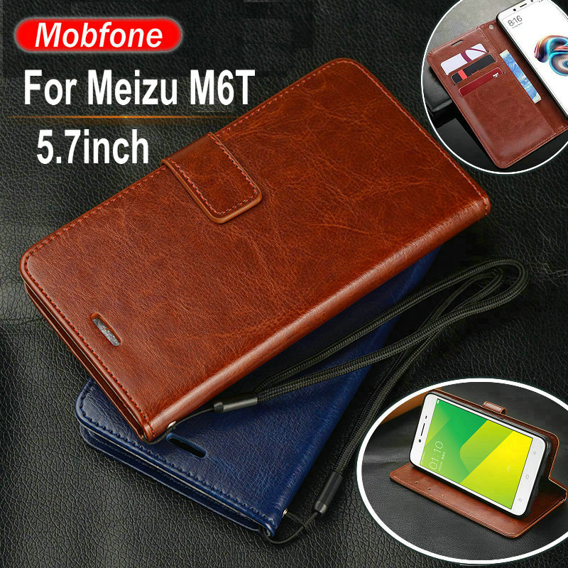 Meizu M6t 5.7inch Case Luxury PU Leather M6 T M6t Wallet Card Slots Flip Stand Cover For Meizu M6t M 6t Phone Funda Wallet Cases