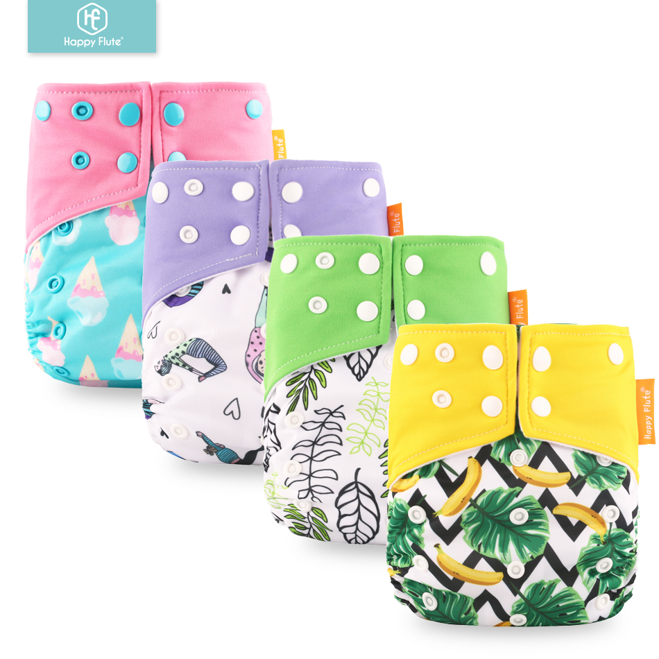 Genuine! Happy Flute OS suede cloth pocket baby cloth diaper with two pockets and double snap(China)