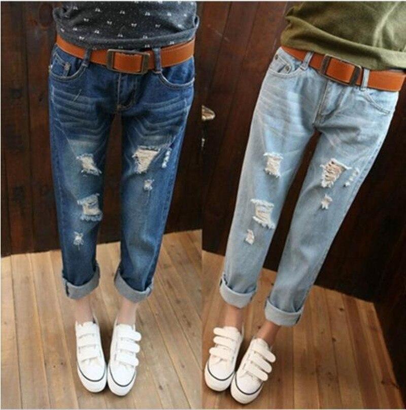 Casual Plus Size Vintage Boyfriend Women Denim Ripped Hole Capris Jeans Pantalones Vaqueros Mujer Pants Trouser