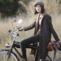 Aporia.As New Autumn Winter Vintage&Retro England Style Plaid Single Breasted Corduroy Collar Plus Size Warm Long Woolen Coats