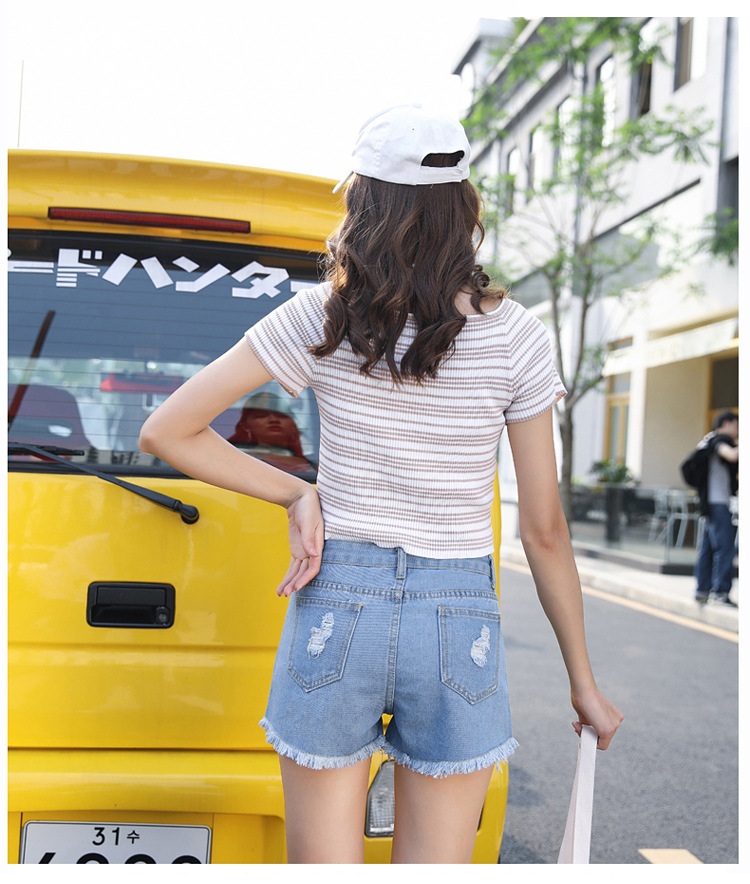 Blue Crimping Denim Jeans Shorts For Women 31