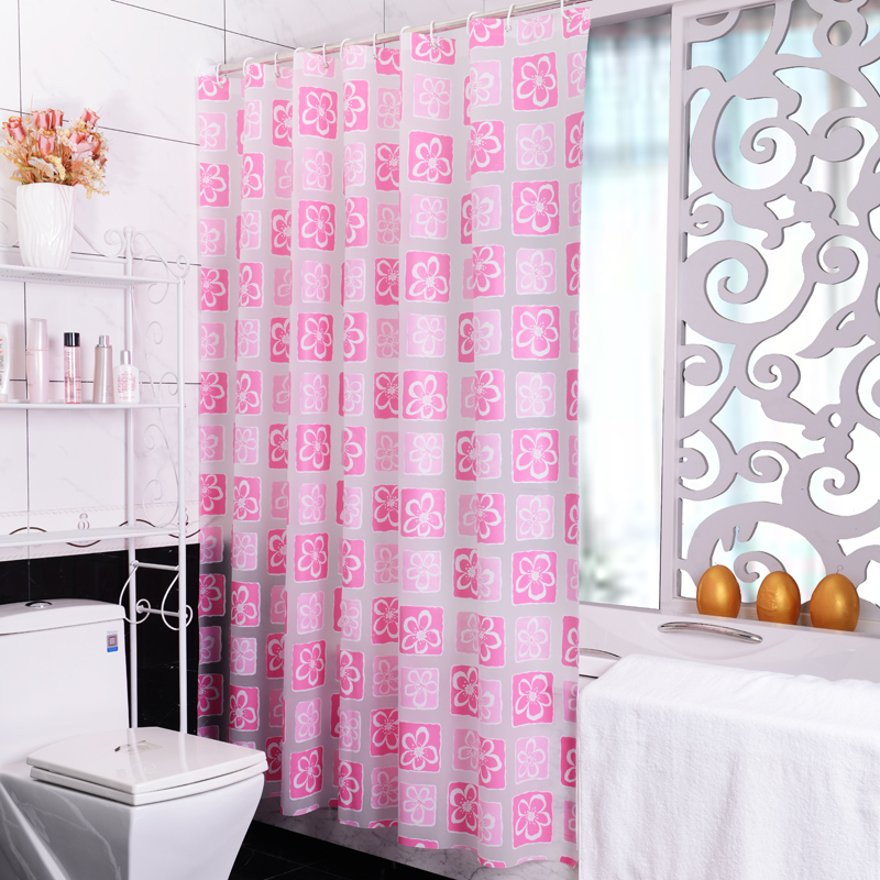 Modern Quares Colorful Pink Flowers Hook Waterproof Mildew Proof Peva Fabric Bathroom Toilet