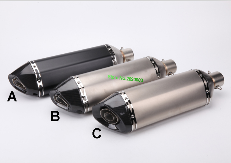 Inlet 51mm length 465mm Akrapovic Exhaust Motorcycle Muffler Stainless Steel Motorbike Exhaust Pipe Muffler Escape and DB Killer inlet 51mm motorcycle universal exhaust muffler pipe with db killer for akrapovic large displacement steel carbon aluminum