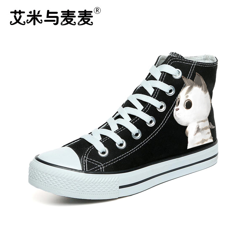 Women's Shoe 2018 Cute Cartoon Cat Canvas Shoes High Top White Black Casual Skate Footwear Female Big Size 41 42 43 vik max factory outlet white figure skate shoes two size left ice skate shoes cheap figure skate shoes