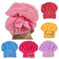 2017 6 Colors Quickly Dry Hair Hat Microfiber Solid Hair Turban Womens Girls Ladies Cap Bathing Tool Drying Towel Head Wrap Hat