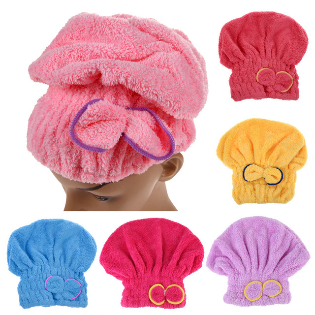 6 Colors Microfiber Solid Quickly Dry Hair Hat Womens Girls Ladies  Cap Bath Accessories Drying Towel Head Wrap Hat