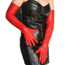 60cm(23.6) long classic plain top sheep leather evening opera gloves in red