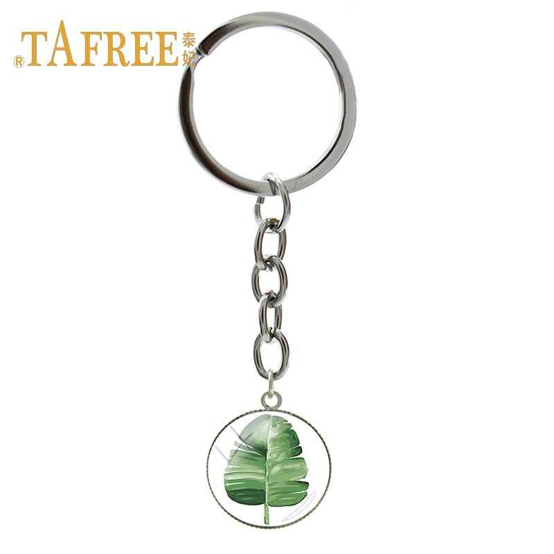 LLavero de hoja verde de TAFREE, llavero de aleación de planta de bosque Tropical, llavero de coche para mujer, accesorios de decoración, joyería TB326