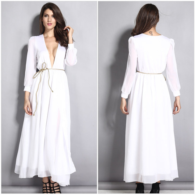 Women Deep V Neck Plus Size White Casual Loose Dress With Sashes