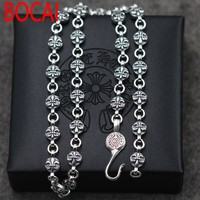 A Retro Anchor Personality Flower Necklace Sterling Silver 925 Silver Chain Coarse Men S Accessories To