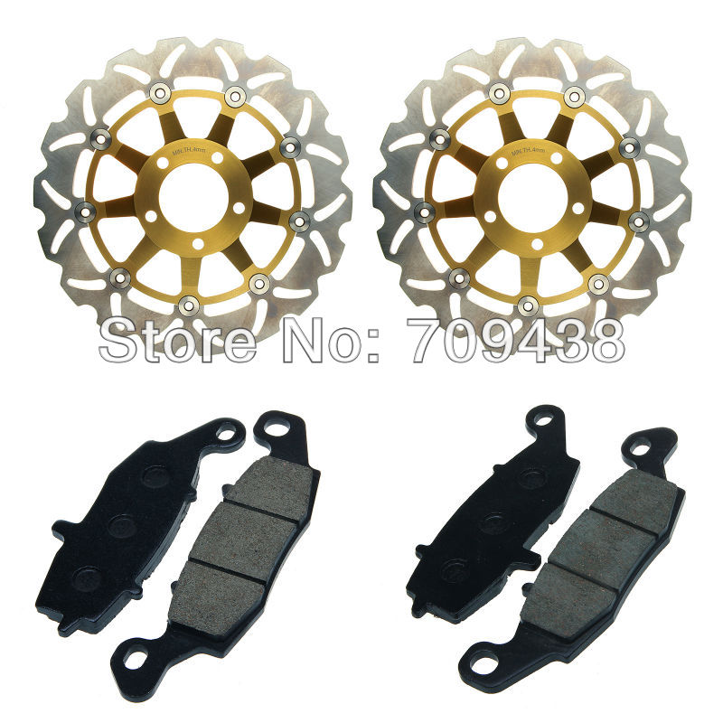 2 X Front Brake Disc Rotor+Pad For SUZUKI GSF 600 (S) Bandit 00-04 SV 650 S Non ABS 99-02 GSX 750 F 98-02