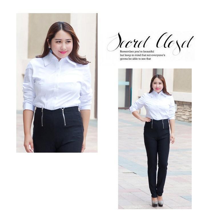f348eed1e6ca8 Big Size Fat Women Office Shirt New Long Sleeve Tops Lady Shirts White Black  XL 2XL 3XL Slim Work Wear Business Wear Shirt