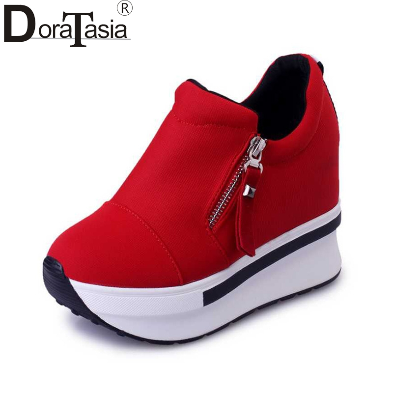 DoraTasia taille 35-40 Mode Femmes de Haut Talon de Cale Femmes Chaussures Femme Zipper Pompes Dames D'été Printemps noir rouge casual Chaussures