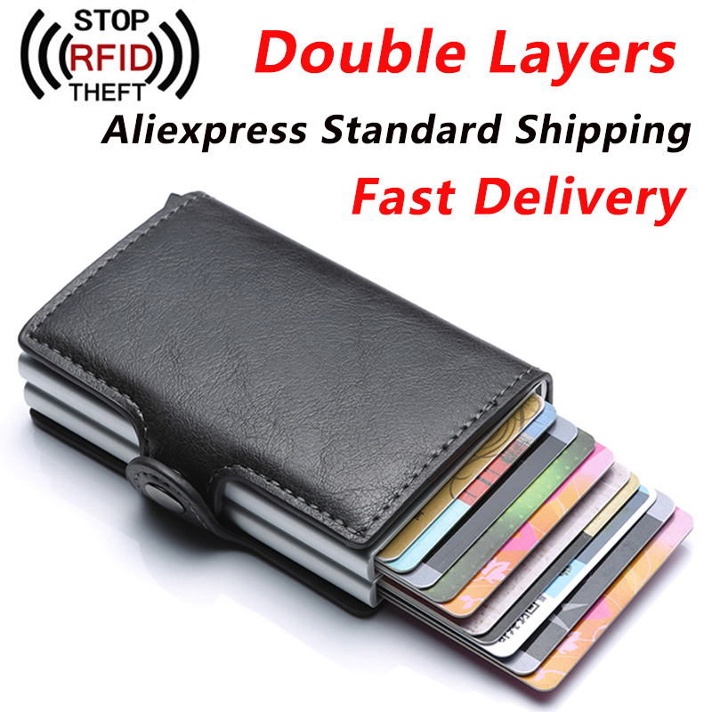 Anti Rfid ID Card Holder Men Business Credit Card Holder Unisex Men Wallet Male Purse PU Leather Cardholder Double Aluminum Box