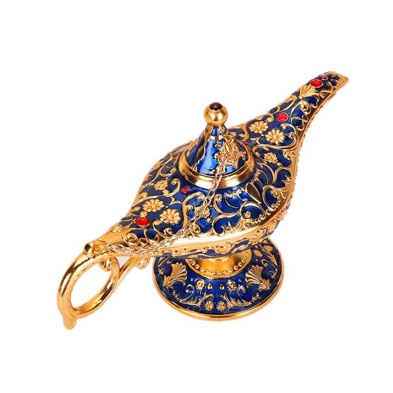 Vintage Metal Aladdins Magic Lamp Figurines Tin Alloy Retro Tea Pot Lamp Miniatures Kids Christmas Toys Gifts Decoration Crafts