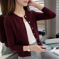 Knitted Cardigan Women 2018 Spring Autumn Long Sleeve Sweater Cardigan Female Single Button Femme Black Pink