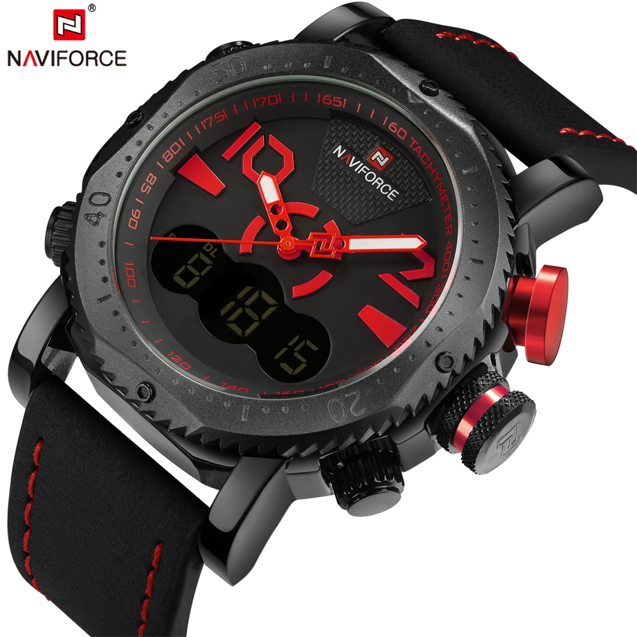 NAVIFORCE Top Brand Sport Watches Men Army Military Quartz Analog Watch Waterproof Leather Strap Male Clock Relogio Masculino xinge top brand luxury leather strap military watches male sport clock business 2017 quartz men fashion wrist watches xg1080