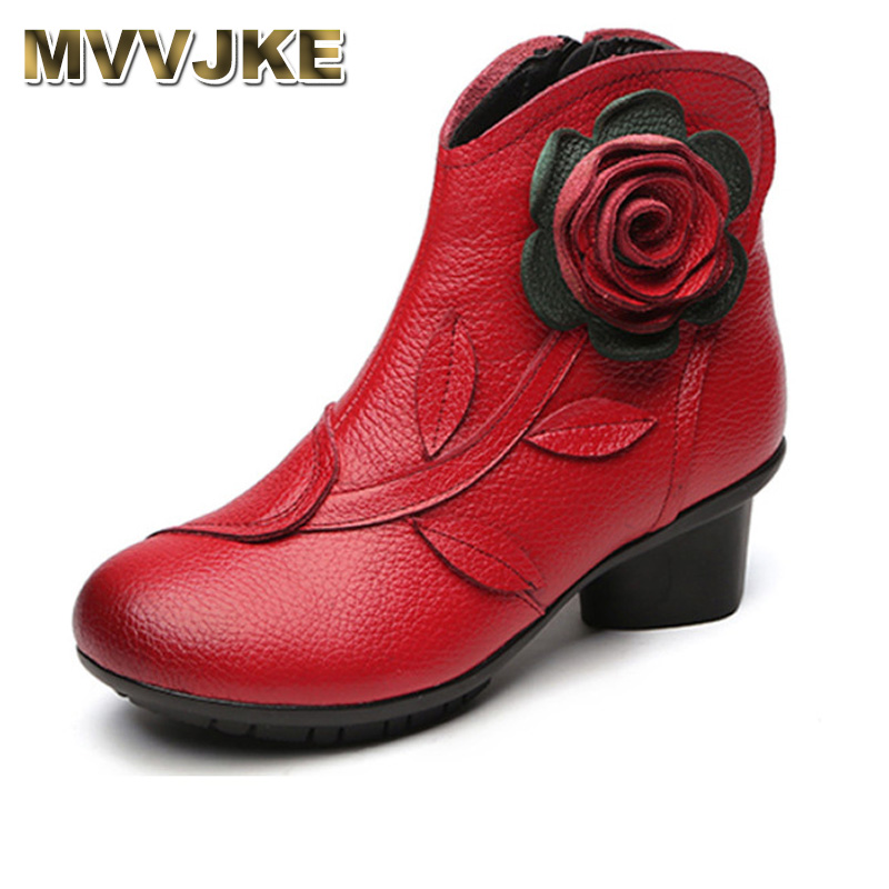 MVVJKE 2017 New Folk Style Floral Female Shoes Winter Comfortable Genuine Leather Ankle Boots for Women All Match Retro Boots retro style floral pattern multicolor t shirt for women