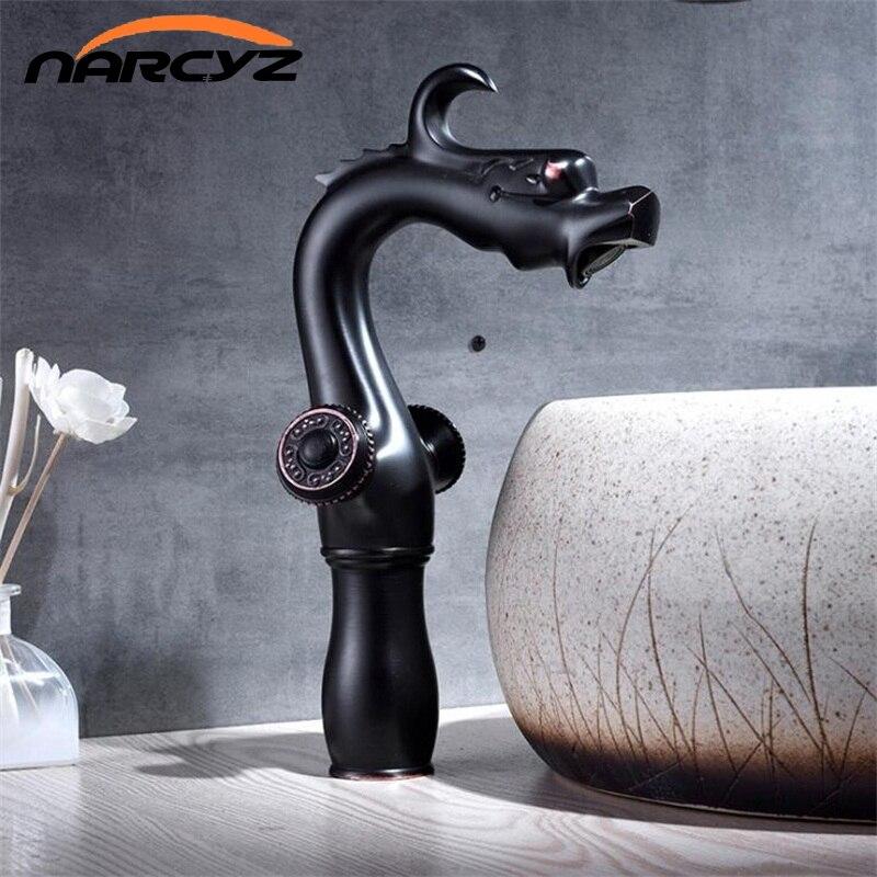 New Black Brass Dragon design water mixer Bathroom Faucet Dual clawfoot handle Wash basin faucet Hot