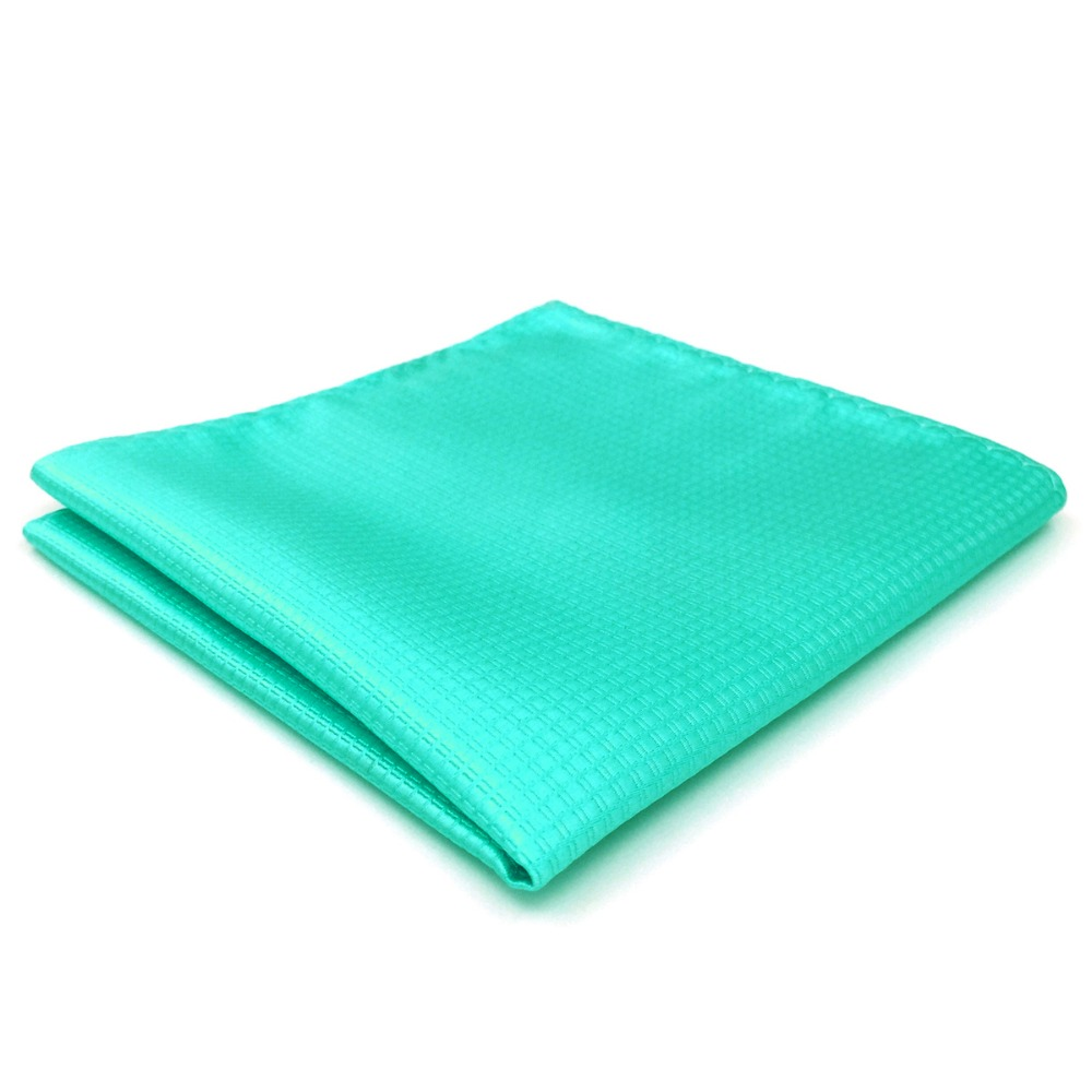 CH34 Solid Aqua Silk Mens Pocket Square Classic Handkerchief Wedding Acceossories Hanky