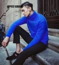2020 winter new trend Plush mink cashmere turtleneck sweater Mens Korean Metrosexual turtleneck sweater warm backing JN369