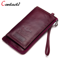 CONTACT S Wallet Women Genuine Leather Women Purses Female Clutch Coin Purse Phone Money Bags Card