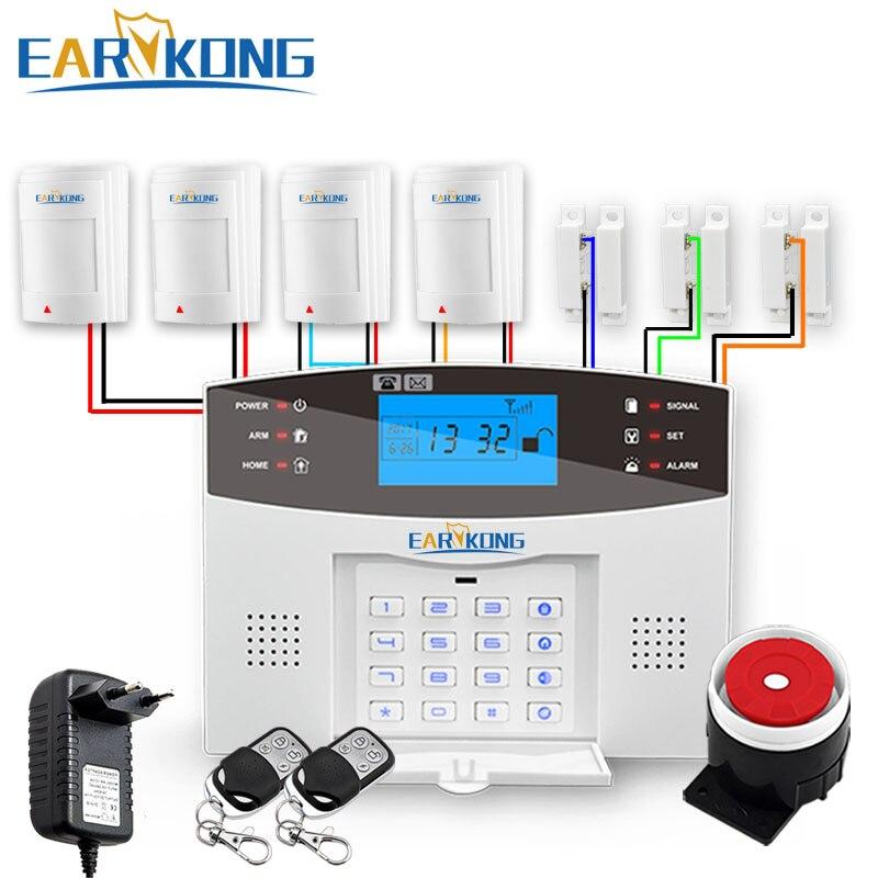 Sistema de alarma de seguridad antirrobo con cable e inalámbrico GSM a 433MHz intercomunicador en Español Francés Inglés ruso italiano