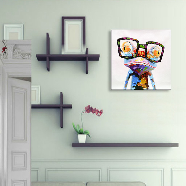 Oil Painting Glasses Frog Print Canvas Photo