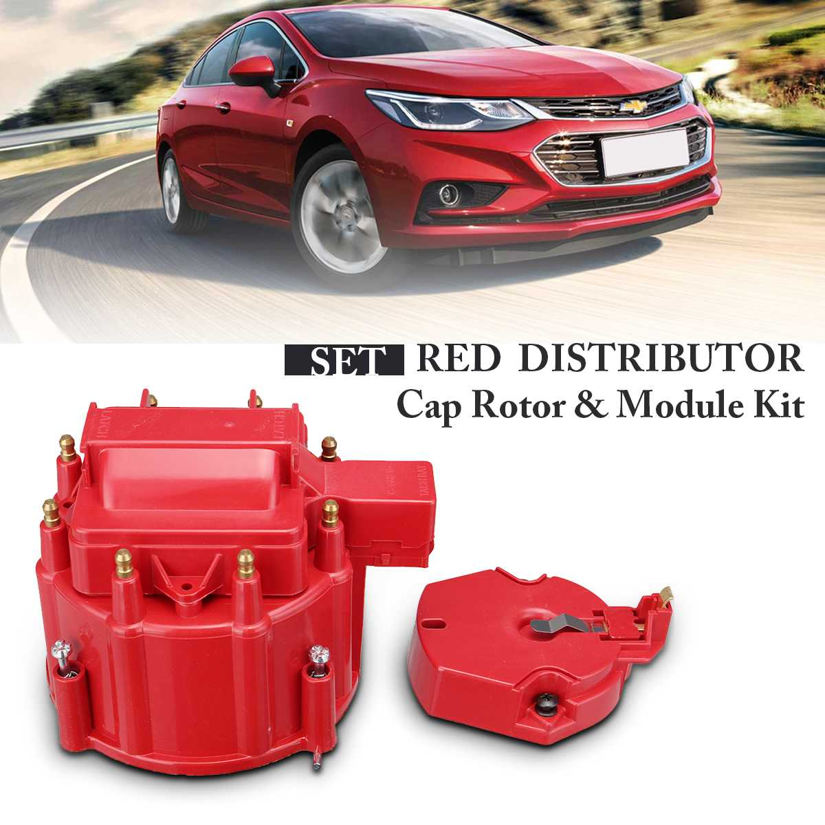 For GM HEI Red Distributor Large Cap Rotor & Module Kit For SBC Replacement For Chevy 350 454 Distributor Cap And Rotor Kits