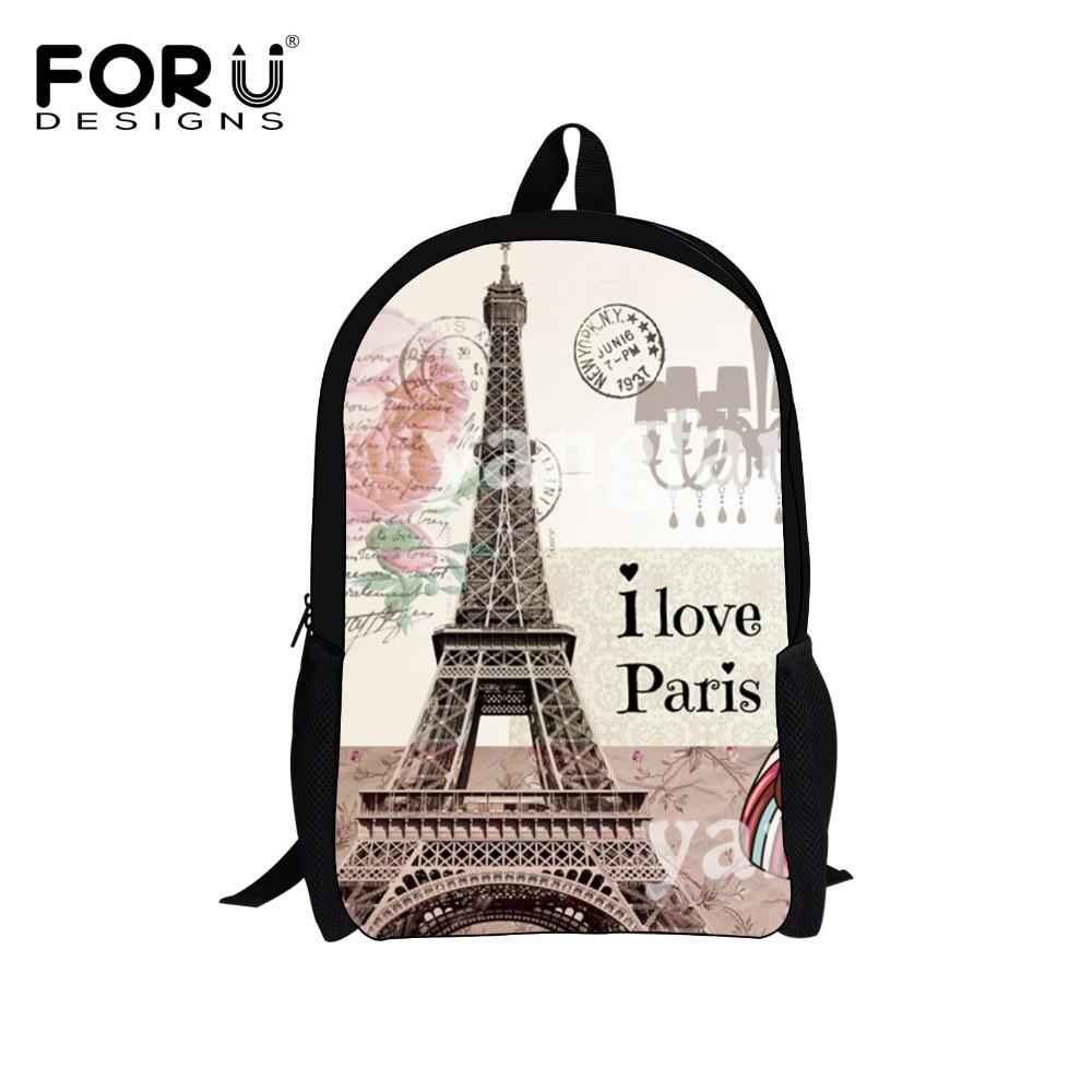 Forudesigns 16 بوصة الأطفال باريس برج ايفل الطباعة الظهر خمر قماش أطفال حقيبة مدرسية للبنات نساء backbag mochila