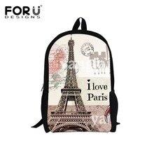 FORUDESIGNS 16inch Children Paris Eiffel Tower Printing Backpacks Vintage Canvas Kids School Bag for Girls Women Backbag Mochila