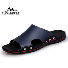 ALCUBIEREE Brand Genuine Leather Sandals Men Summer Breathable Flat Beach Shoes Mens Flip Flops Non-slip Slippers Slides Hombre