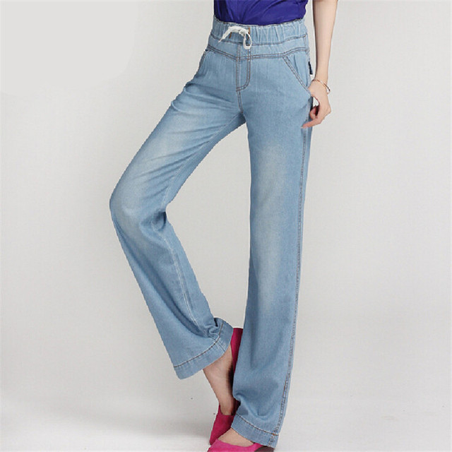 daff86b230b63 New High Quality Women s Slim High Waist straight Jeans Fashion Bell Bottom  Trousers Comfortable Pants vintage Jeans plus size