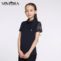 VOVLORA 2017 Girls T Shirt Cotton Kids Clothes Summer Tops Fashion Lace O Neck Dark Blue