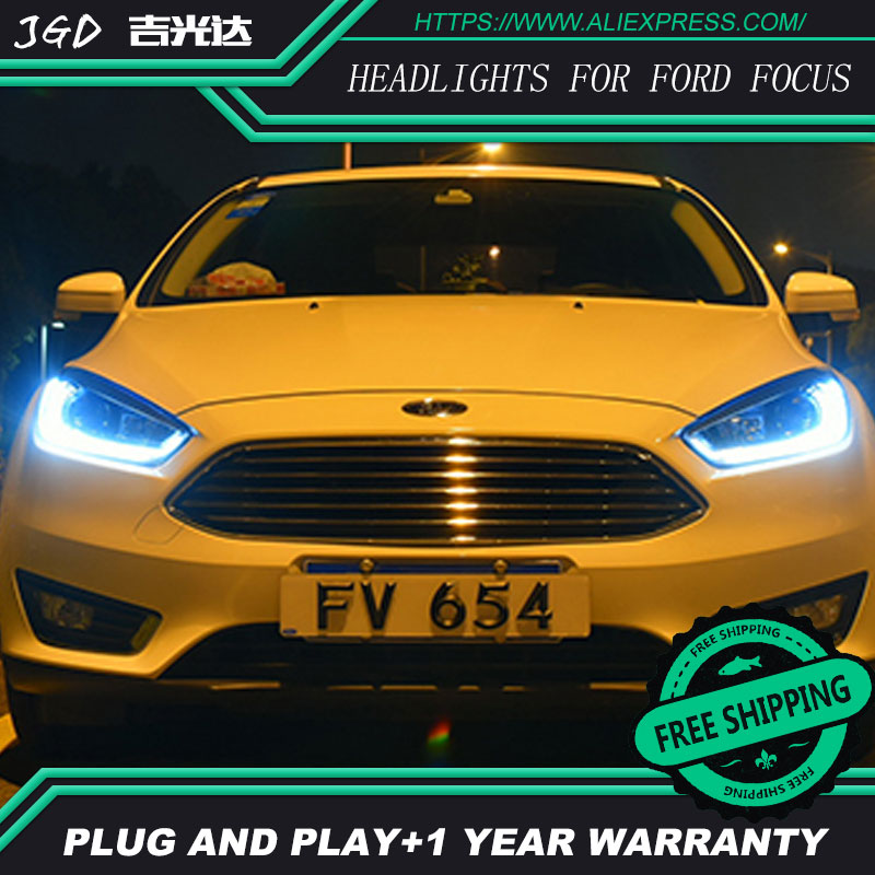 Car Styling Head Lamp case for Ford Focus Headlights LED Headlight DRL H7 D2H Hid Option Angel Eye Bi Xenon car styling led head lamp for ford kuga led headlights 2014 taiwan escape angel eye drl h7 hid bi xenon lens low beam