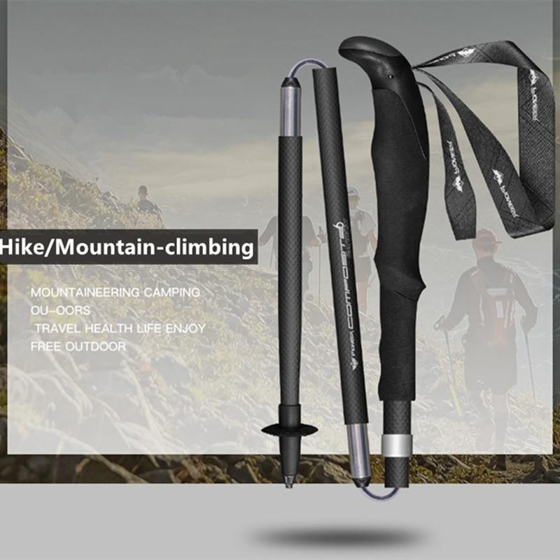 1 piece Folding stick 99 carbon ultra light cane outdoor carbon fiber trekking pole carbon steel
