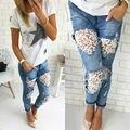 Mulheres Senhora Destruído Jeans Rasgado Afligido Buraco Flor Denim Calças Boyfriend Jeans Calças Nova