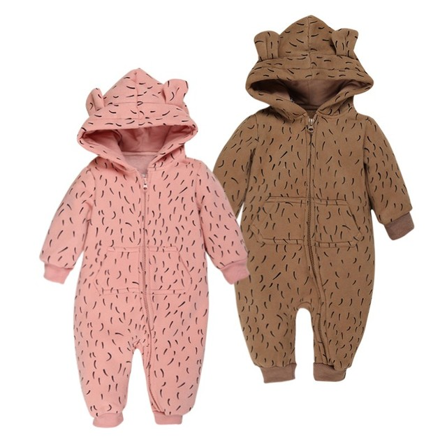 2017 Nueva Moda Niños Bebés Niñas Mamelucos de la Historieta de Manga Larga Otoño Invierno Encapuchado Outwear Jirafa Conejo Ropa de Bebé
