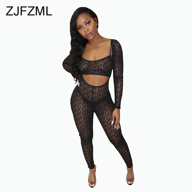 Neon Pink Mesh Patchwork Jumpsuits For Women Spaghetti Strap Full Sleeve Bodycon Romper Sexy Backless Hollow Club Party Overalls Jumpsuits