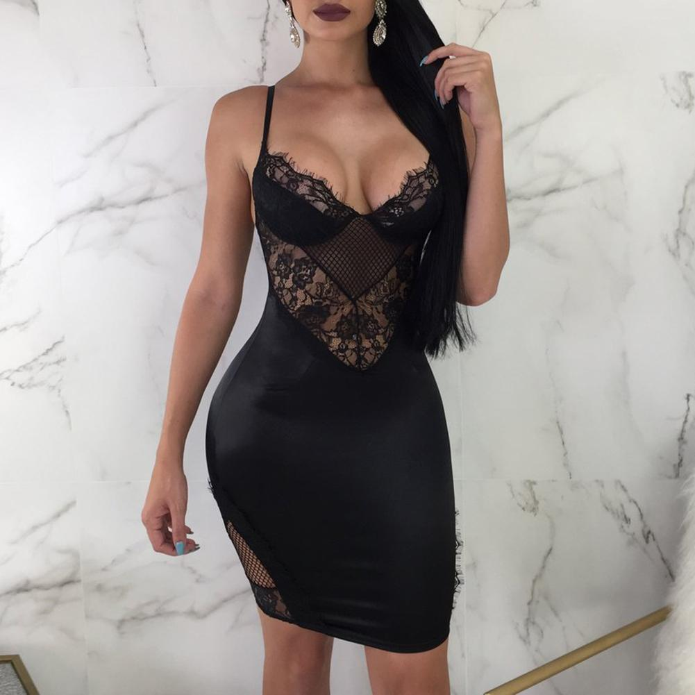 2018 Women Fashion Europe And American Style Spaghetti Strap Tight-fitting Backless Lace Bodycon Dress Top Feminino