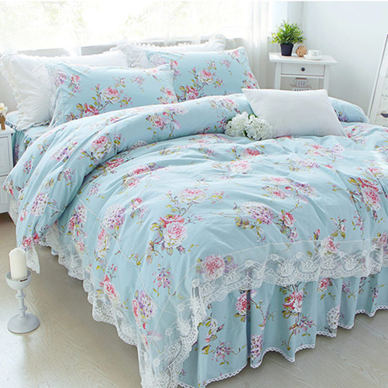 New Pastoral print bedding set lace ruffle duvet cover bedding elegant bedspread bed sheet princess bed cover skirt pillow shamNew Pastoral print bedding set lace ruffle duvet cover bedding elegant bedspread bed sheet princess bed cover skirt pillow sham
