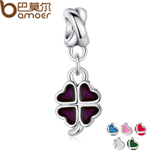 6 Colors 925 Silver Good Luck Four-Leaf Clover Pendant Charm Fit Pandora Bracelet Necklace Bead Accessories Purple Enamel PA5275