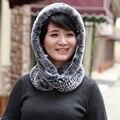 Rex Rabbit Fur Chapéus E Lenços Para As Mulheres de Pele do Inverno Caps com Cachecol Feminino de Malha Coelho Natural Fur Cachecóis Wraps Para Meninas