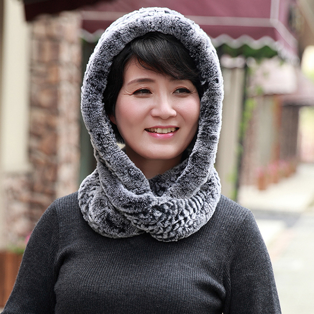Rex Rabbit Fur Hats And Scarves For Women Winter Fur Caps With Scarf  Female Knit Natural Rabbit Fur Scarves Wraps For Girls