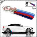 (5) M-Colored Stripe Nylon Band with Inner Leather Key Chain Keychain Ring For Bimmer