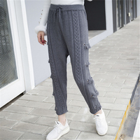 Mid Waist Tassel Harem Pants Women Trousers Drawstring Skinny Pants Pockets Knitted Striped Sweatpants Pantalon Femme