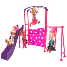 NK One Set Doll Accessories Park Slide swing Toys Amusement Devices For Barbie 1/6 Doll's Kindergarten Girl Play House X010A DZ(China)