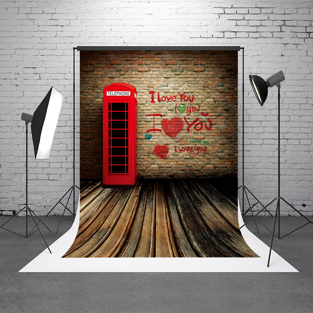Kate Brick Wall Photography Background Wood Flooring Backgrounds For Photo Studio LOVE Telephone Plank Valentine Day Backdrop love photography backdrop scenery custom photo portrait studios background valentine s day backdrop f 2908