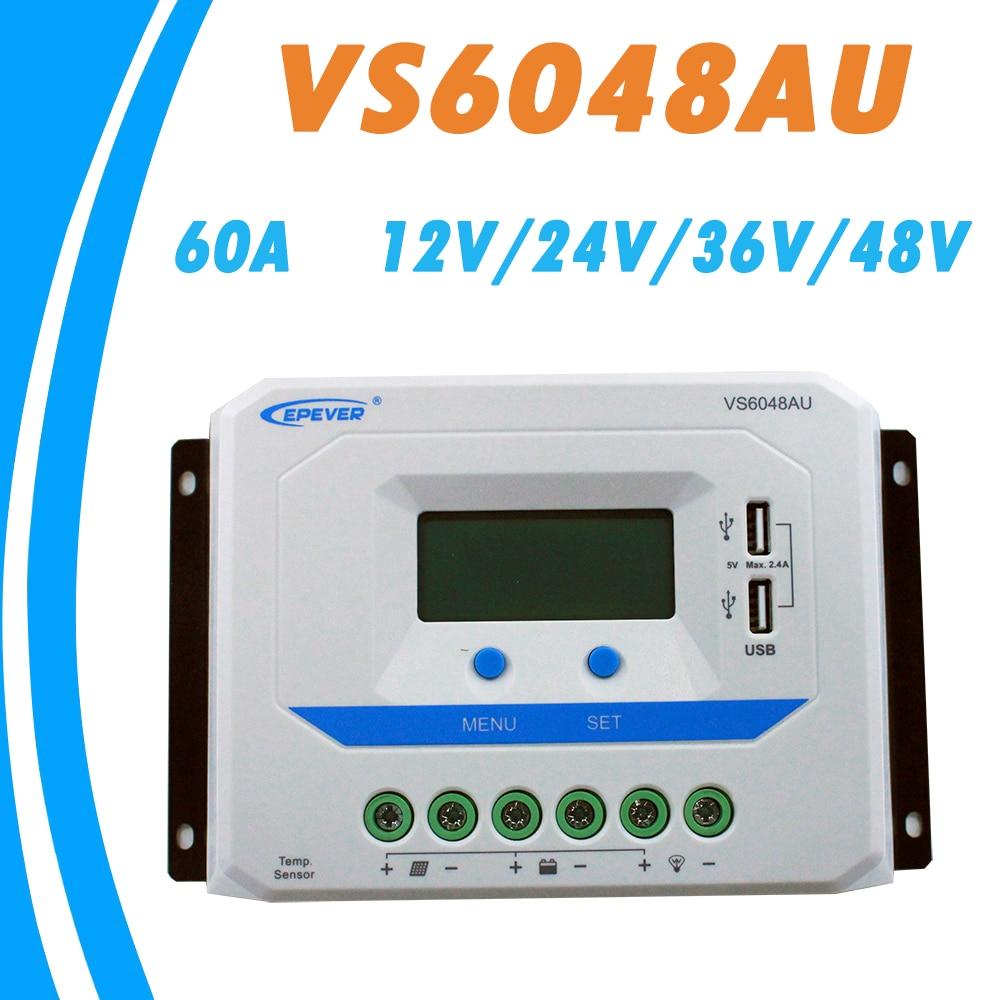 EPEVER 60A Solaire Contrôleur 12 v 24 v 36 v 48 v Auto VS6048AU PWM Contrôleur de Charge avec Construit dans LCD Affichage et Double USB 5 v Port